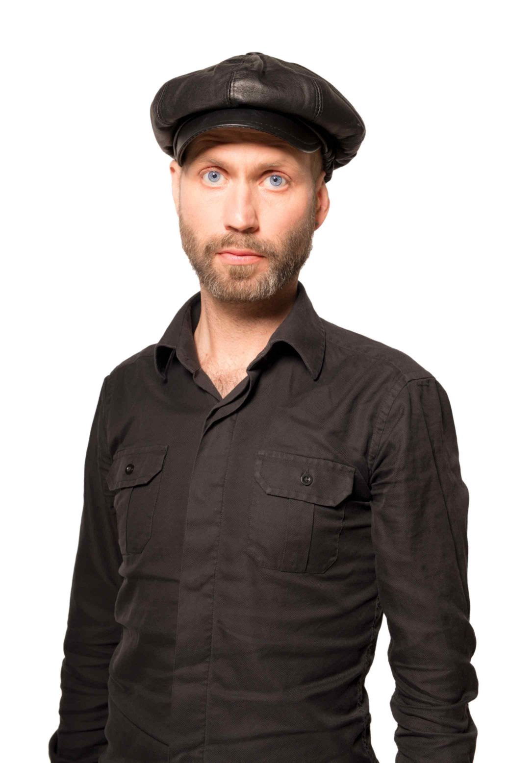 Artist Björn Perborg, portrait with leather hat.