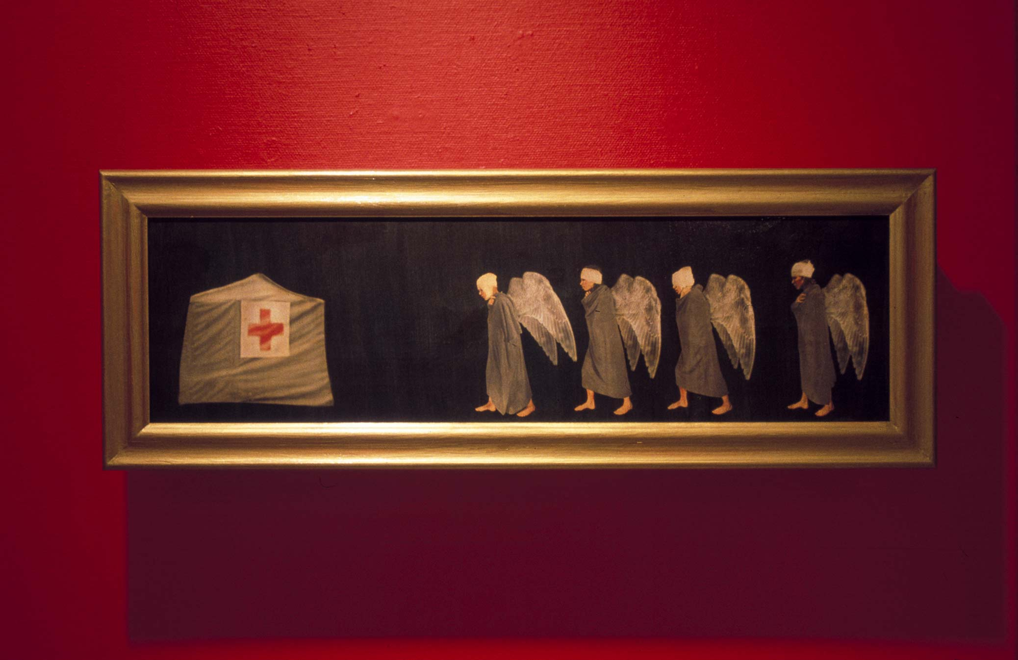 Flygfän, painting of wounded angels, queueing for treatment. Flygfän, tavla med skadade änglar som köar för vård.