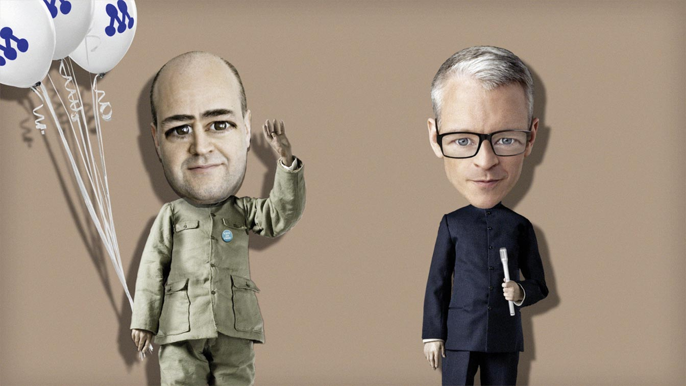 Four More Years With The Alliance, film still from animation, Fredrik Reinfeldt, ballons and journalist.