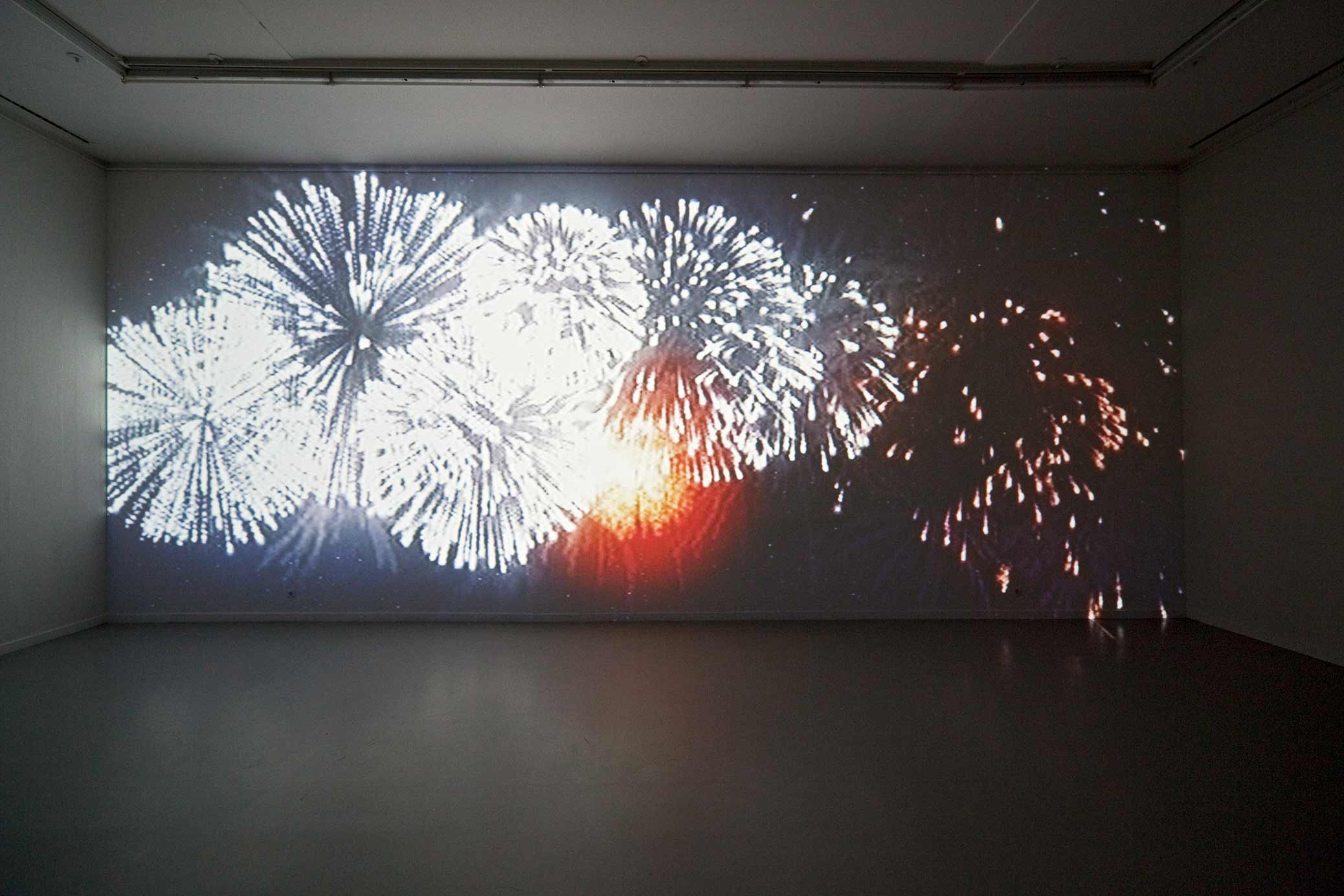 Immigrant Song, video installation, fireworks, projection on a wall.