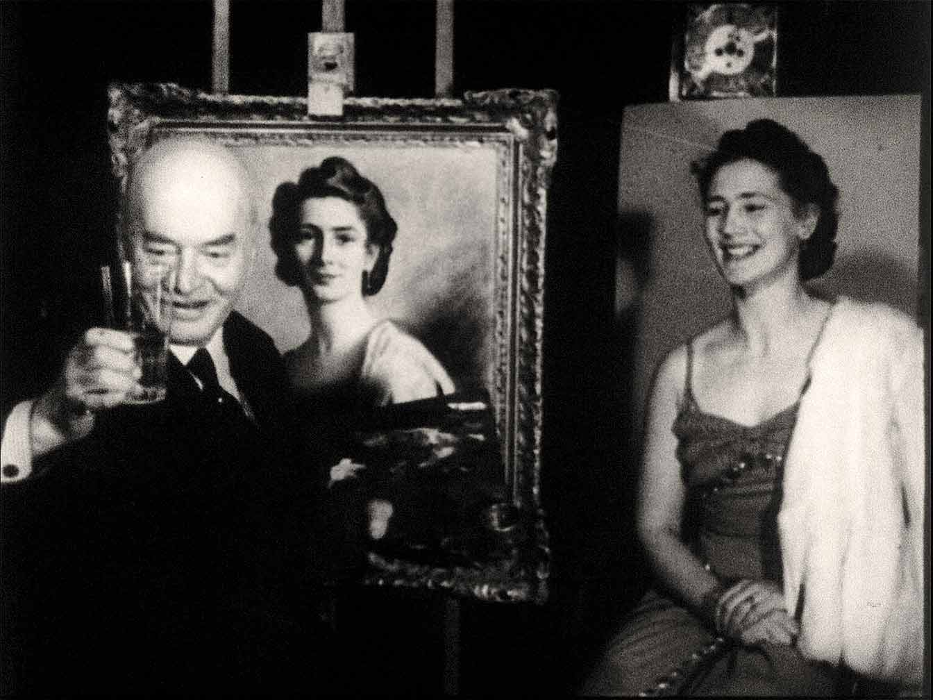 Making The Immortal, film still, Bror Kronstrand and woman in his studio.
