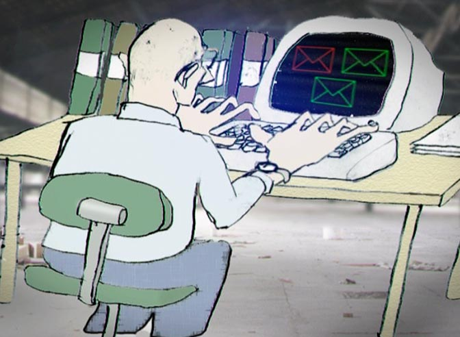 Swedish Migration Board 14.40, film still from animation, office worker at his desk with computer.