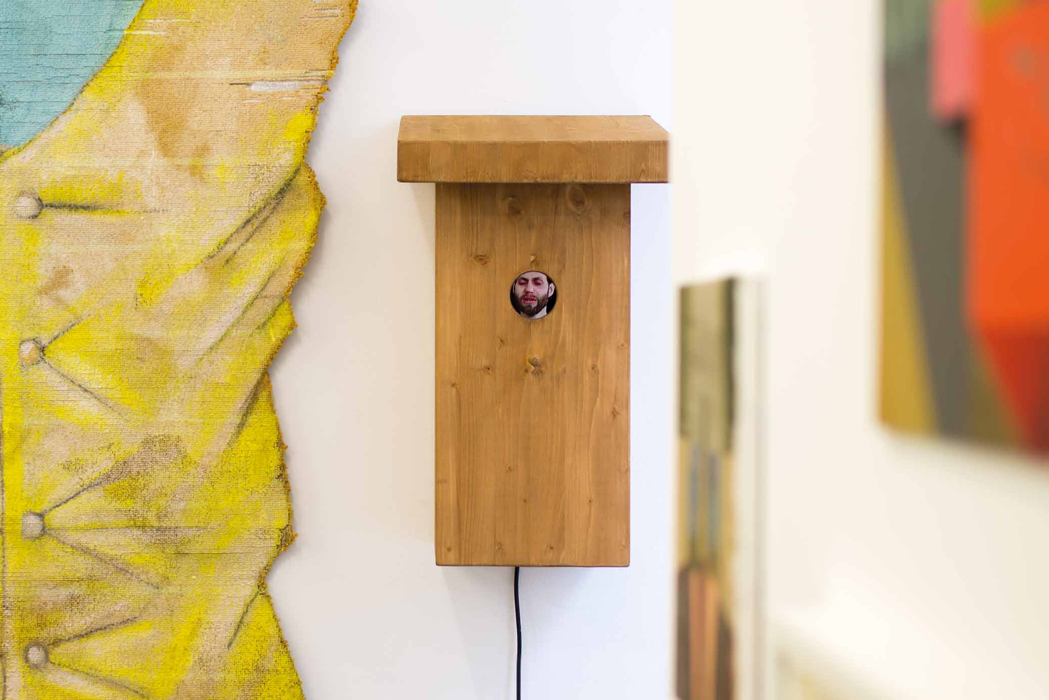 Nesting Box, video sculpture by Björn Perborg with crying man inside.