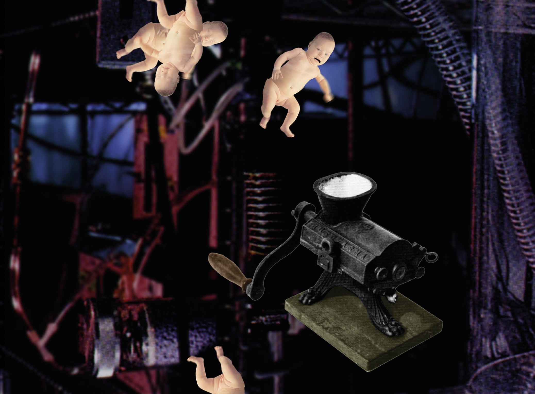 Perfume Factory, film still from animation, infants approaching mincer.