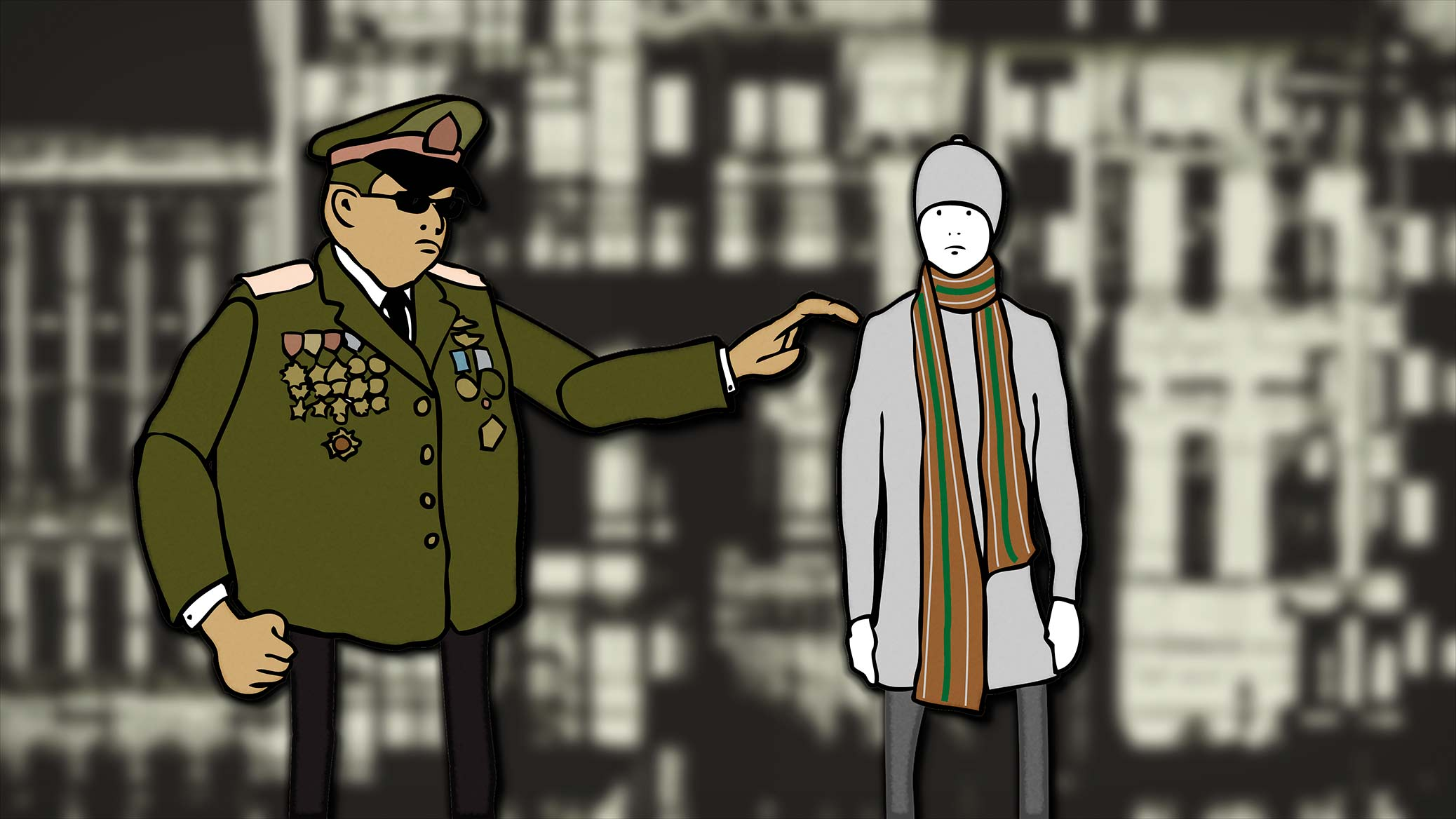 The Warmest Winter in 250 Years, film still from animation. Policeman approaches young man in scarf.